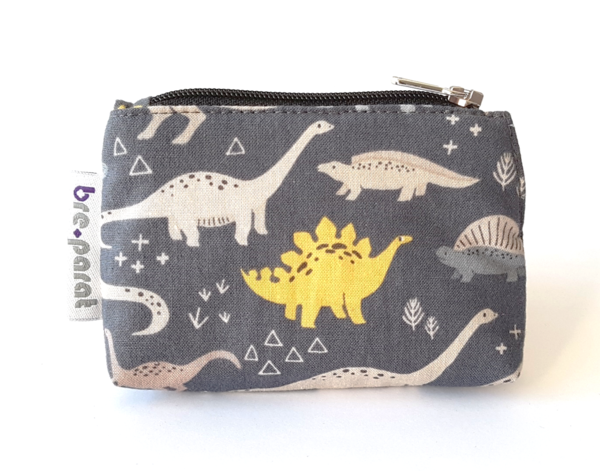Insulin pump pouch Dinosaurs on gray